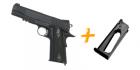 COLT M1911 Rail Gun Noir mat CO2 et chargeur supplémentaire airsoft