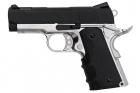 AW Custom NE10 Series 1911 Officer Size Gas Blowback Pistol - Black Slide / Silver Frame