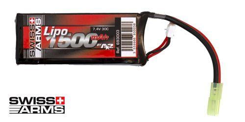 Batterie LiPo 1 élément 7,4V 1500mAh 30C Swiss Arms