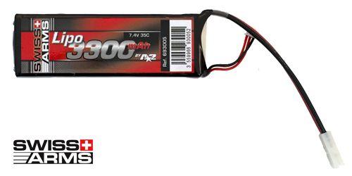 Batterie LiPo 1 élément 7,4V 3300mAh 35C Swiss Arms