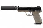 Réplique de poing airsoft GBB HK45 Tan Tokyo Marui Gaz avec silencieux intégré