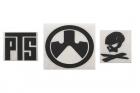 Pack de 3 autocollants noir PTS Magpul. Idéal pour personnaliser votre équipement et vos mallettes de transport de réplique d'airsoft.