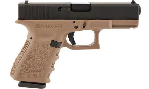 Réplique de poing type Glock 19 S19 Black/Tan STARK Gaz
